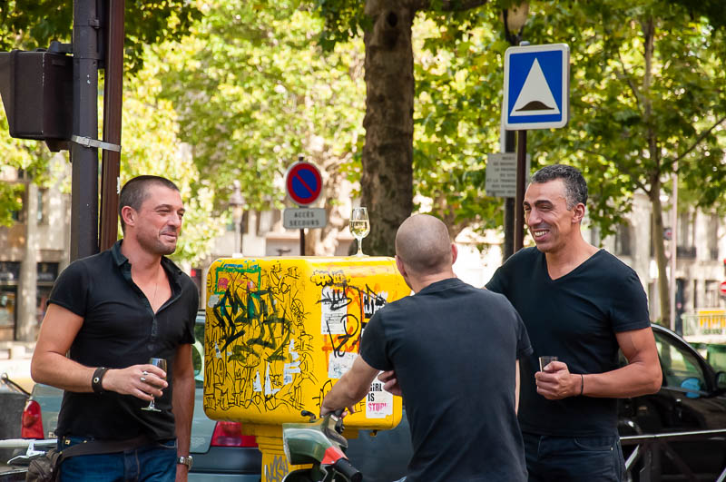 Three French drinking champagne on the street. I love this photo. This totaly represent the culture. I mean, you can not capture this shot in Turkey.