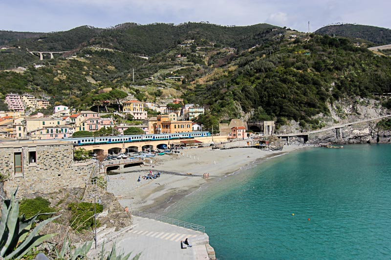 Monterosso is the one has largest beach.