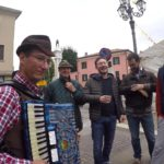 Playing mountain songs at suca baruca (pumpkin festival) in Piove di Sacco