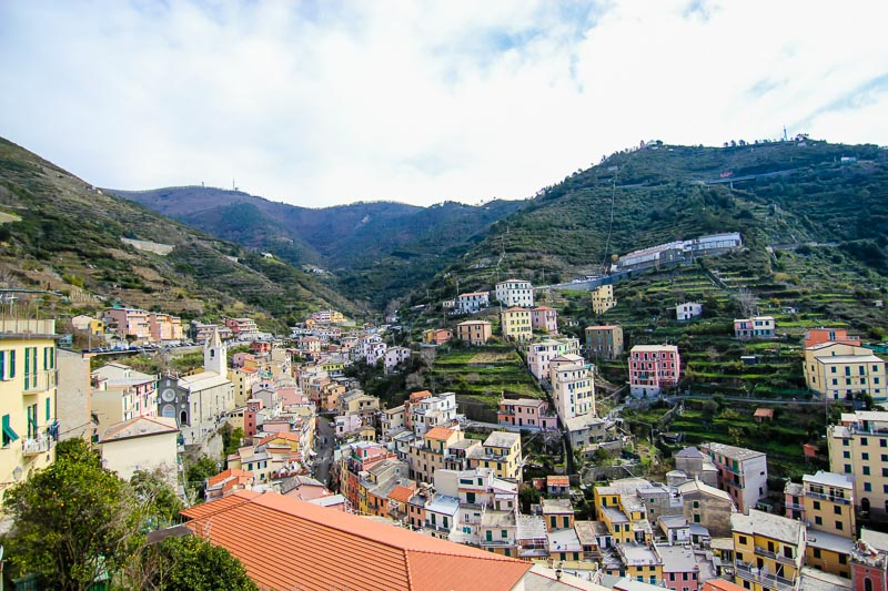 Riomaggiore is the biggest town of the five and it's known for its wine. That's crazy seeing vineyards in vertical rugged land.