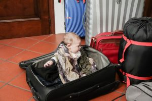 baby in the luggage-travel baby