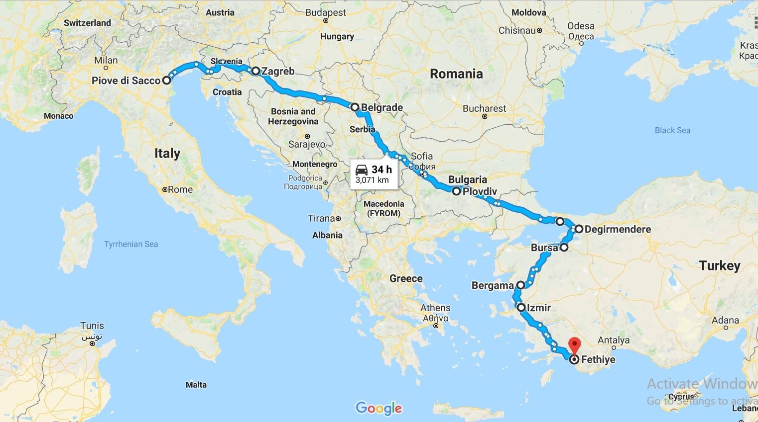 araba yolculuğu harita